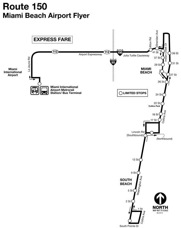 Mapa de bus 150, Miami Beach Airport Flyer de Miami-Dade County