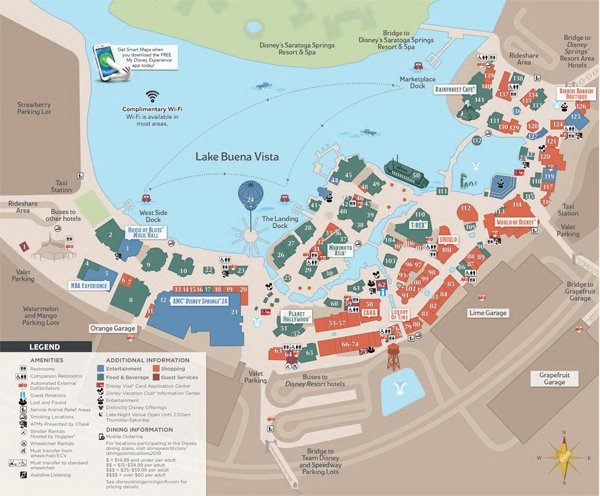 disney springs orlando español mapa